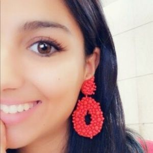 Brand new!!!  Boho Red resin beaded earrings
